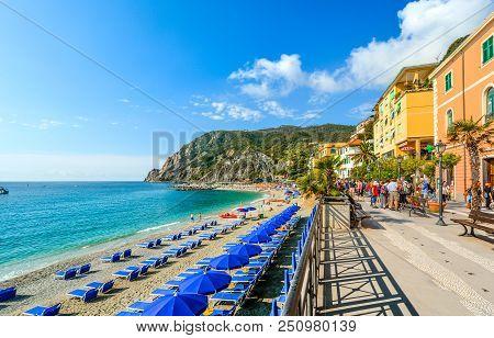 Monterosso Al Mare, Italy - September 25 2017: The Sea And Sandy Beach Spiaggia Di Fegina At The Cin