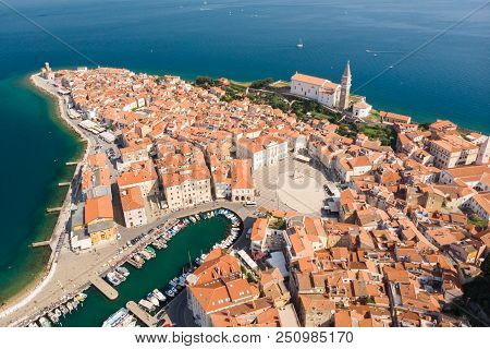 Aerial View Of Old Town Piran. Splendid Summer Day On Adriatic Sea. Beautiful Cityscape Of Slovenia,