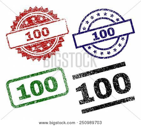 100 Seal Prints With Distress Texture. Black, Green, Red, Blue Vector Rubber Prints Of 100 Caption W