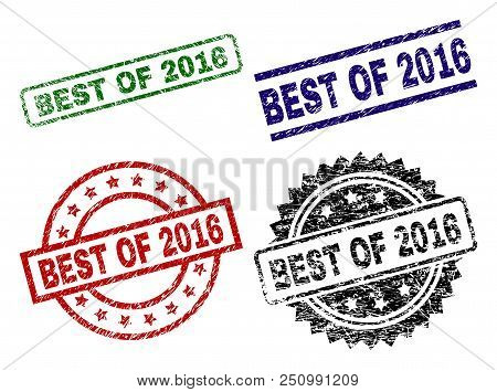 Best Of 2016 Seal Stamps With Corroded Texture. Black, Green, Red, Blue Vector Rubber Prints Of Best