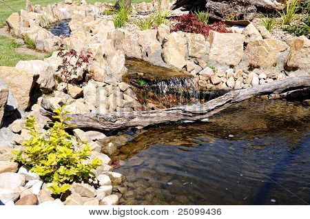 Rock garden with a pond in the park staging