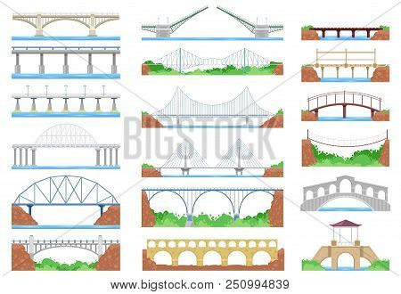 Bridge Vector Urban Crossover Road And Bridge-construction For Transportation Illustration Bridged S