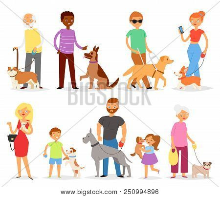 Dog-breeding Vector People With Pet And Woman Or Man Dog-breeder With Dog Or Puppy Illustration Dogg