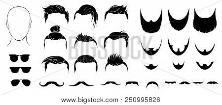 Set  Mens Hairstyles, Beards , Mustaches And Glasses.   Bearded Men With Different Beard, Mustache,