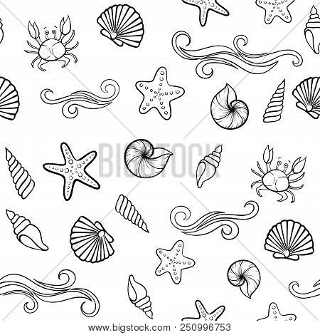 Black And White Seashell Seamless Pattern. Design For Holiday Greeting Card And Invitation Of Season