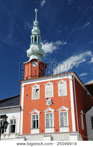Town square with the old town hall and house At the Moor´s, Svitavy