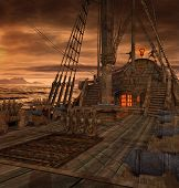 Pirate ship deck with stairs to the galley and door to the captains cabin, 3d render poster