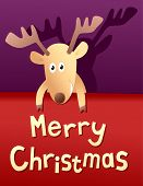 Merry Christmas funny card with deer vector poster