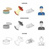 Can used used pot, apple stub, old dirty and wrinkled newspaper, the man who takes out the garbage.Garbage and trash set collection icons in cartoon, outline, monochrome style vector symbol stock illustration . poster