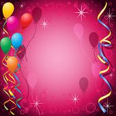 Party Background with Balloons and Streamers poster