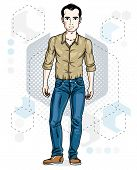 Handsome brunet young man poses on modern background with hexagons. Vector illustration of male. Lifestyle theme clipart. poster