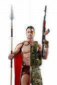 Comparison of ancient and modern warriors outfit. Modern soldier wearing pixel khaki military uniform and keeping Kalashnikov automatic machine. Ancient Spartan wearing red cape and holding a spear. poster