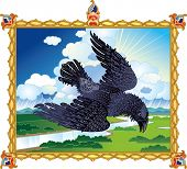 Epic raven flying in thundercloud poster
