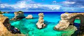 "Natural landmarks and best beaches of Puglia. ""Torre di Sant Andrea"" near Otranto. Itly poster"