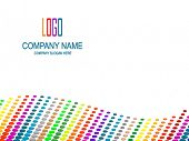 Company page with multicolored perspective and logo space. poster