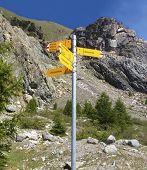 Signpost written in German of various hiking trails, Zermatt, Switzerland. weg means trail, furi is cable car, garten is garden, gletscher is glacier. Others are specific place names poster