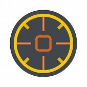Futuristic aim scope icon. Flat illustration of futuristic aim scope vector icon for web isolated on white poster