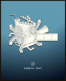load the movie - vector - line drawing - blue
