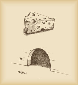 cheese and mouse hole -drawing vector