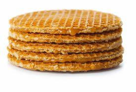 Stack Of Belgian Waffle Chips Isolated On White Background