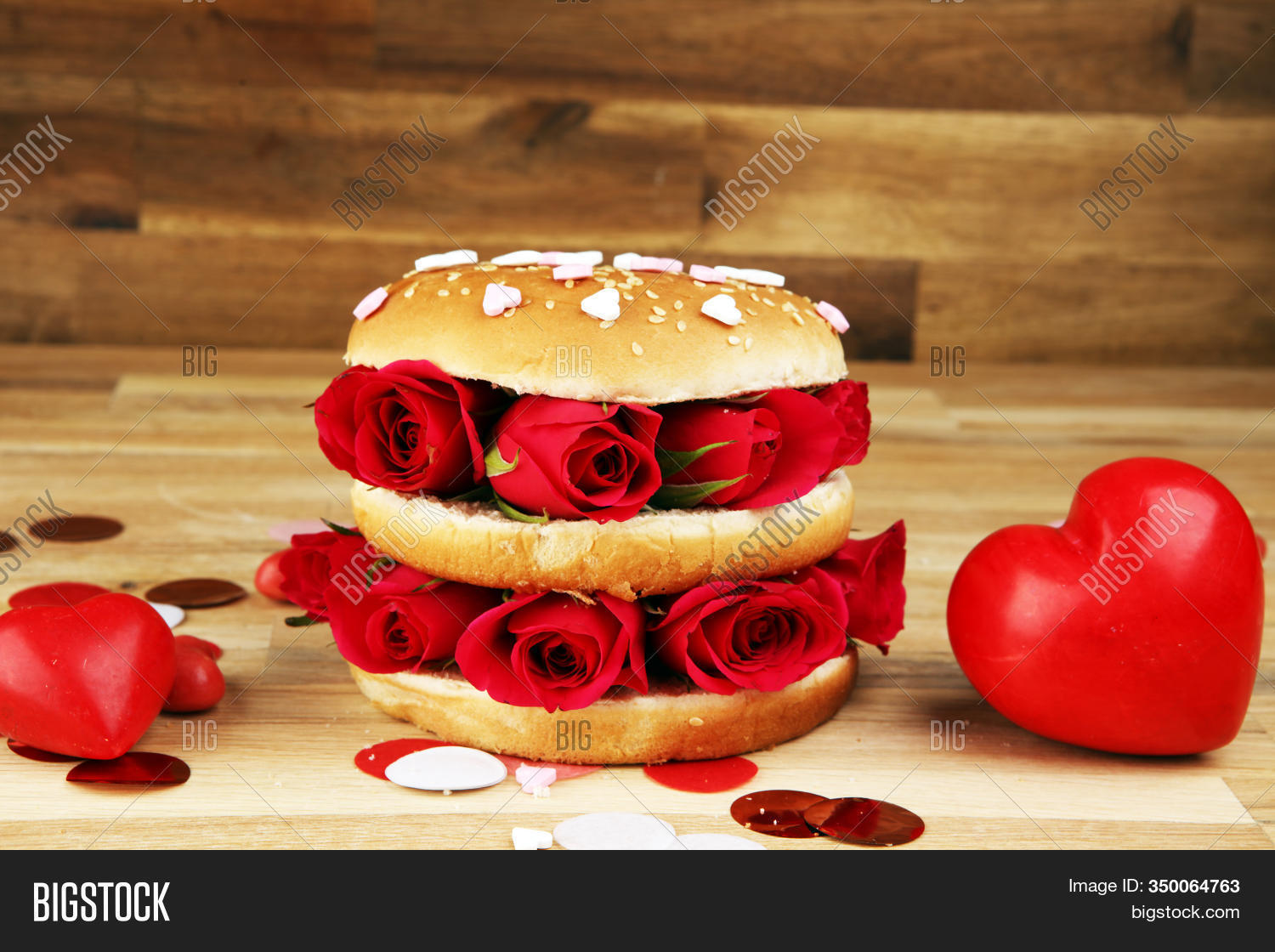 Burger For Valentines Day With Roses And Red Hearts