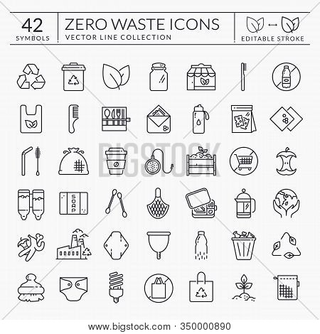 Zero Waste Line Icons. Outline Symbols Isolated On White Background. Recycling, Reusable Items, Plas
