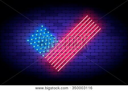 Vote America. Neon Vector Illustration With United States Flag Elements For Voting On The President