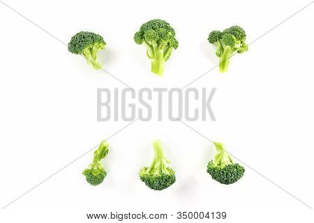 Broccoli Florets, Shot From Above On A White Background With A Place For Text
