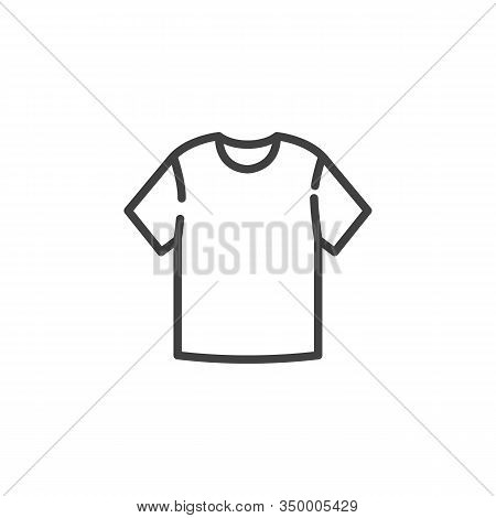 Blank T-shirt Line Icon. Linear Style Sign For Mobile Concept And Web Design. Short Sleeve T-shirt O