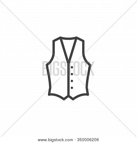 Mens Waistcoat Line Icon. Linear Style Sign For Mobile Concept And Web Design. Waistcoat Jacket Outl