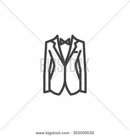 Mens Tuxedo Jacket With Bow Tie Line Icon. Linear Style Sign For Mobile Concept And Web Design. Wedd