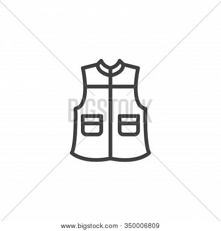 Mens Vest With Pockets Line Icon. Linear Style Sign For Mobile Concept And Web Design. Sleeveless Wa