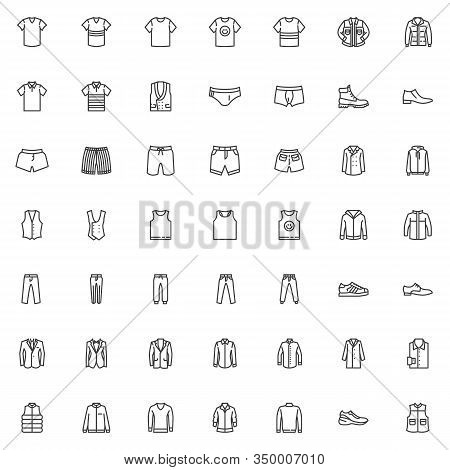Mens Clothing Line Icons Set. Male Garment Linear Style Symbols Collection, Man Fashion Clothes Outl