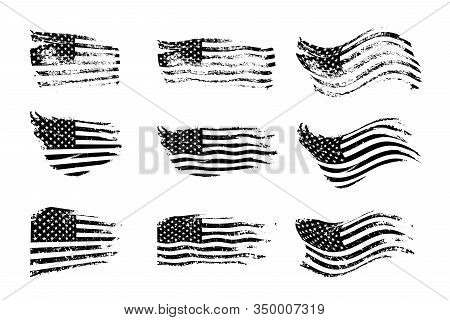 Black Vintage Usa Flags Illustration. Vector American Flag On Grunge Texture Set