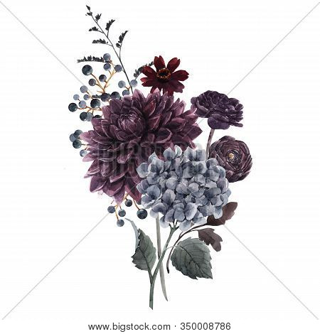 Beautiful Bouquet Composition With Watercolor Dark Blue, Red And Black Dahlia Hydrangea Flowers. Sto