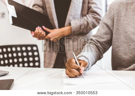 African American Man Signing Contract, Black Man Hand Putting Signature On Official Document, Biraci