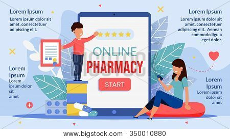 Online Pharmacy Mobile Application Infographic Poster. Happy Mother And Child Using Phone Medical Ap