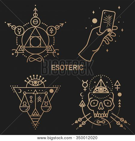 Gold Esoteric Symbols. Vector Illustration. Thin Line Geometric Badge. Outline Icon For Alchemy Or S