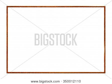 Rectangle Rusty Frame, Realistic Old Metal Isolated On White Background. Corroded Steel Photoframe T