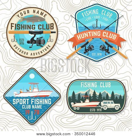 Set Of Fishing Club Patch. Live, Love, Fish. Vector Illustration. Concept For Shirt Or Logo, Print,