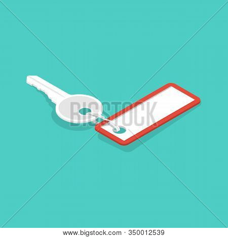 One Key With A Blank Key Fob. Vector Illustration Isometric 3d Design. Blank Tag And Keys. Keychain