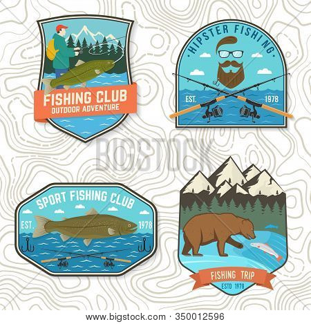 Set Of Fishing Patch. Vector Illustration. Concept For Shirt Or Logo, Print, Stamp, Tee, Patch. Vint