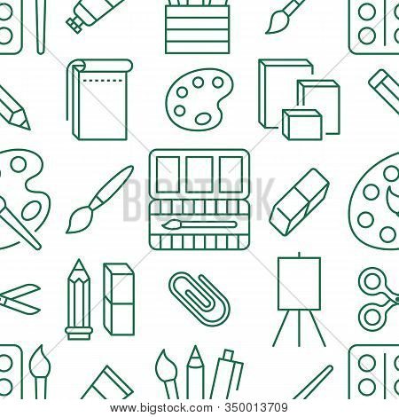 Stationery Background, School Tools Seamless Pattern. Art Education Wallpaper With Line Icons Of Pen