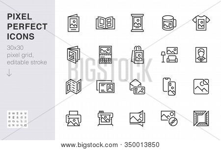Photo Printing Line Icon Set. Brand Identity Printed On Products Like Brochure, Banner, Mug, Plotter