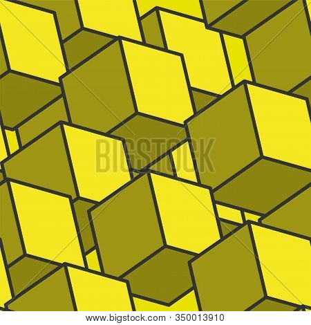 Seamless Pattern Of Yellow Cubes. Cube Pattern. Cube Vector. Cube Background. Abstract Seamless Back