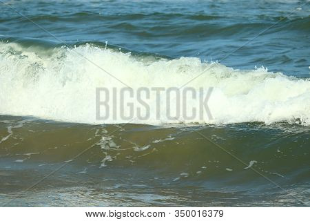 Close Up Of Crystal Water Wave Of Blue Sea On The Beach, Bay Of India , Sea Background,beach Landsca