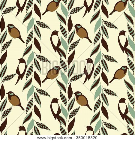 Sparrow And Magpie Birds And Stripes Of Leaves Seamless Vector Pattern In Muted Vintage Colors. Anim
