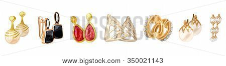 Vector Realistic Set, Assortment Of Different Style Golden Earrings And Earclips With White, Blue, R