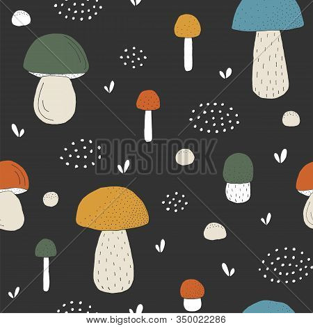 Seamless Texture With Forest Mushrooms And Hand Drawn Elements. Childish Background - Pets. Eps10 Ve