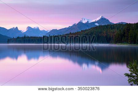 Daybreak At The Beautiful Maligne Lake, Jasper National Park, Alberta, Canada